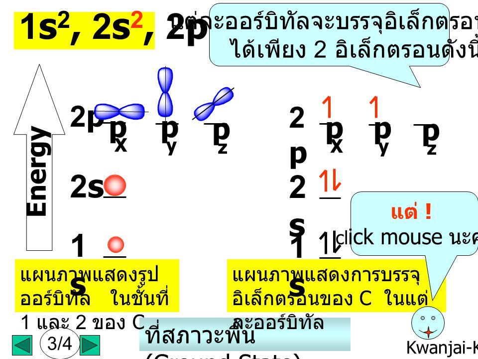 Kwanjai-KKU ตามหลักของ Linus Pauling (1931) นั้น 6 อิเล็กตรอนของ C จะจัดเรียง อยู่ในออร์บิทัล (electron configuration) ตามชั้นต่างๆ ดังนี้ 1s 2, 2s 2,