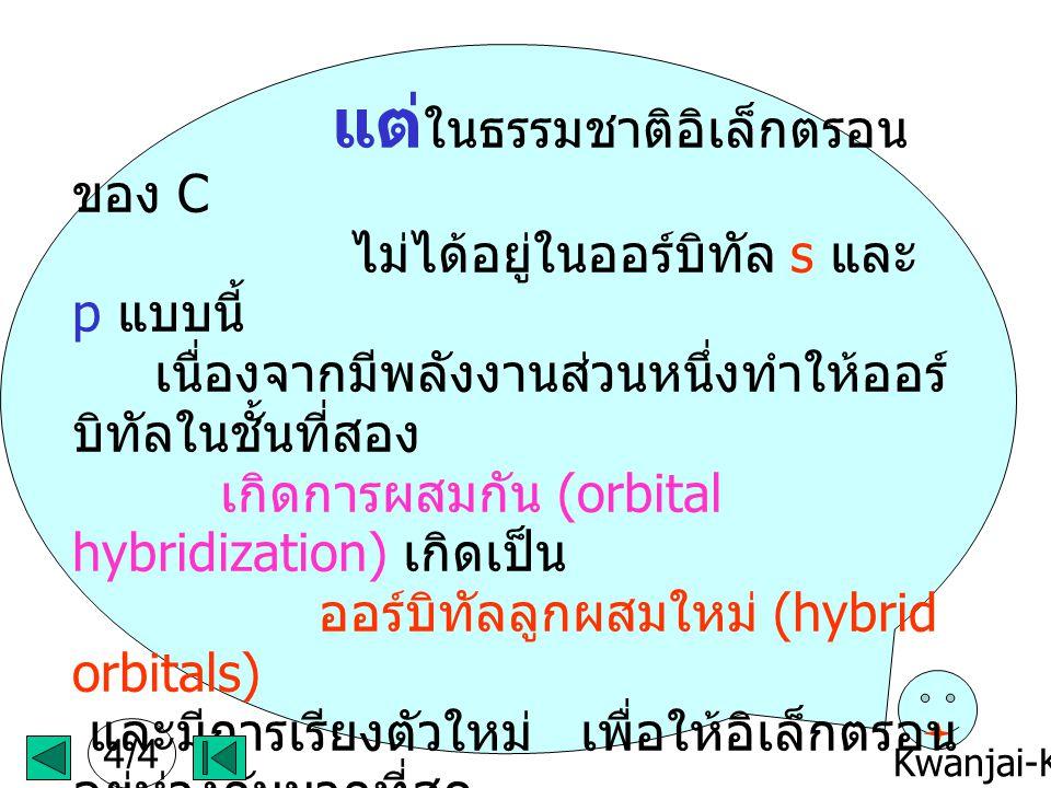 Kwanjai-KKU แต่ ในธรรมชาติอิเล็กตรอน ของ C ไม่ได้อยู่ในออร์บิทัล s และ p แบบนี้ เนื่องจากมีพลังงานส่วนหนึ่งทำให้ออร์ บิทัลในชั้นที่สอง เกิดการผสมกัน (orbital hybridization) เกิดเป็น ออร์บิทัลลูกผสมใหม่ (hybrid orbitals) และมีการเรียงตัวใหม่ เพื่อให้อิเล็กตรอน อยู่ห่างกันมากที่สุด ให้ไปดูหัวข้อ ไฮบริไดเซชัน (Hybridization) ของ C ต่อเลยนะค่ะจะได้รู้ว่าจริงๆแล้ววาเลนท์ อิเล็กตรอนทั้ง 4 ของ C อยู่กันอย่างไร หวังว่าคง จะเข้าใจแล้ว นะค่ะว่า ออร์บิทัล หมายถึงอะไร 4/4