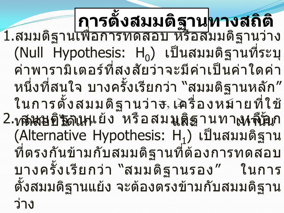 การตั้งสมมติฐานทางสถิติ 1. สมมติฐานเพื่อการทดสอบ หรือสมมติฐานว่าง (Null Hypothesis: H 0 ) เป็นสมมติฐานที่ระบุ ค่าพารามิเตอร์ที่สงสัยว่าจะมีค่าเป็นค่าใ