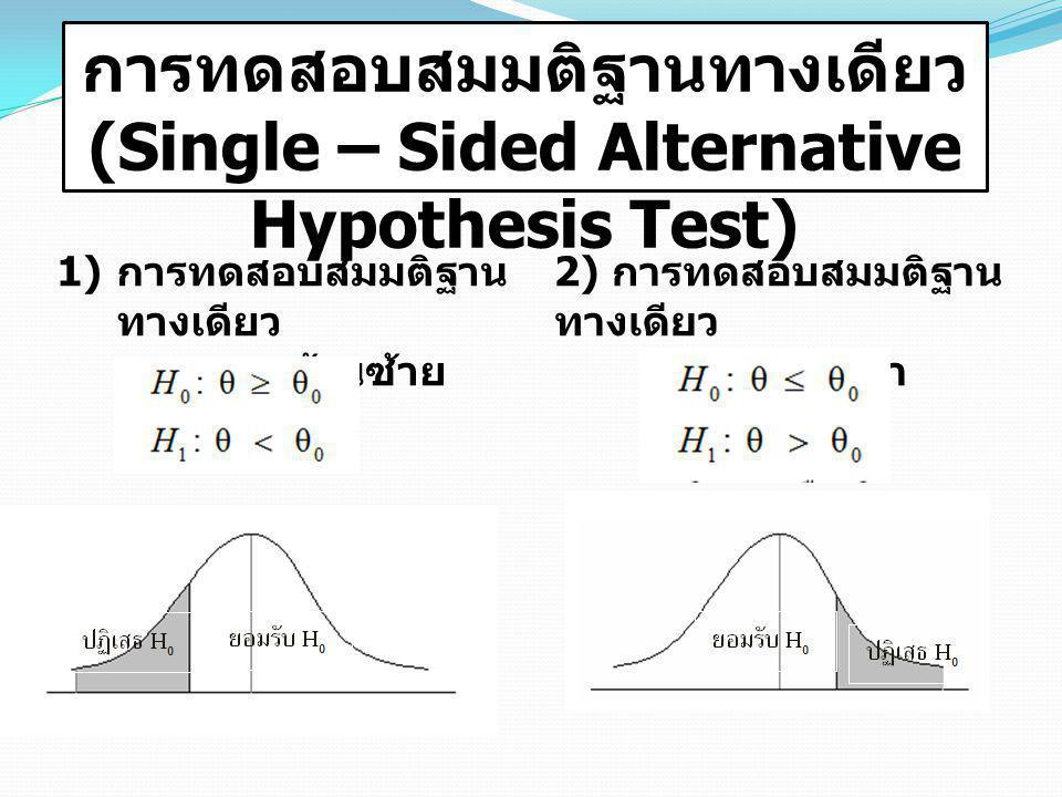 การทดสอบสมมติฐานทางเดียว (Single – Sided Alternative Hypothesis Test) 1) การทดสอบสมมติฐาน ทางเดียว ด้านซ้าย 2) การทดสอบสมมติฐาน ทางเดียว ด้านขวา