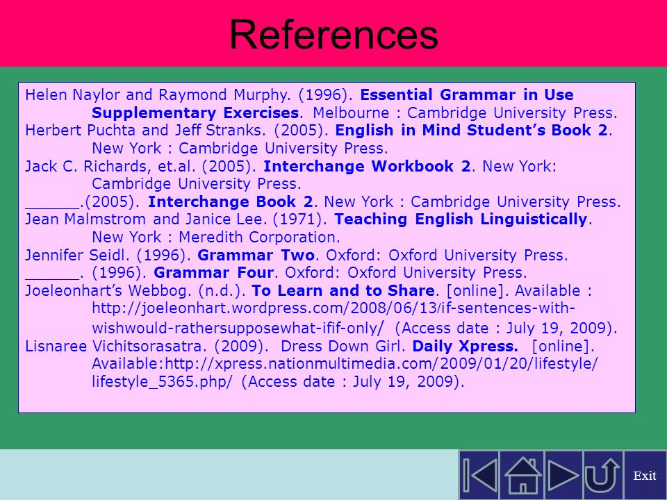 References About.com.(n.d.). English as 2nd Language.