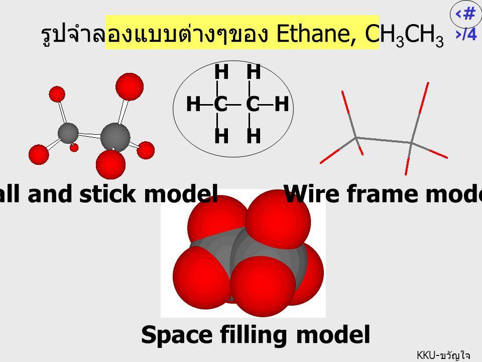 3/ 4 KKU- ขวัญใจ Space filling model รูปจำลองแบบต่างๆของ Ethane, CH 3 CH 3 Ball and stick model Wire frame model HH H H CH H C