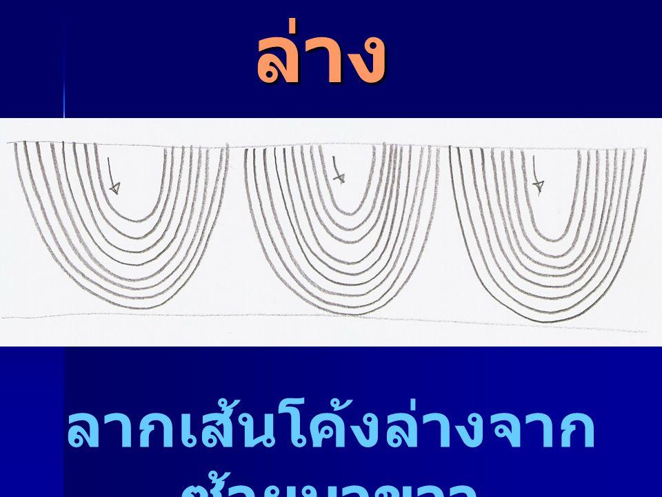 การขีดเส้นโค้ง ล่าง ลากเส้นโค้งล่างจาก ซ้ายมาขวา