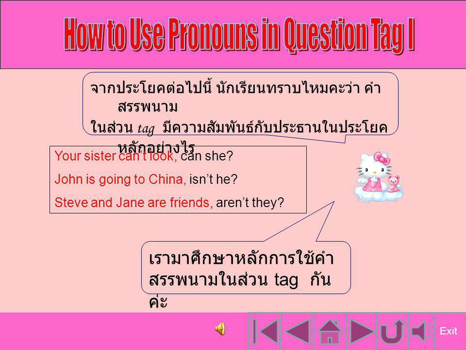 คลิกเพื่อ เลือกหัวข้อ ที่จะเรียนค่ะ How to Use Pronoun I Conclusion Test Yourself I How to Use Pronoun II How to Use Pronoun III How to Use Pronoun IV