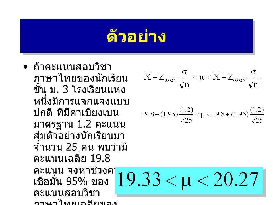 ตัวอย่าง • ถ้าคะแนนสอบวิชา ภาษาไทยของนักเรียน ชั้น ม. 3 โรงเรียนแห่ง หนึ่งมีการแจกแจงแบบ ปกติ ที่มีค่าเบี่ยงเบน มาตรฐาน 1.2 คะแนน สุ่มตัวอย่างนักเรียน