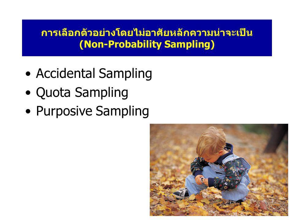 การเลือกตัวอย่างโดยไม่อาศัยหลักความน่าจะเป็น (Non-Probability Sampling) •Accidental Sampling •Quota Sampling •Purposive Sampling