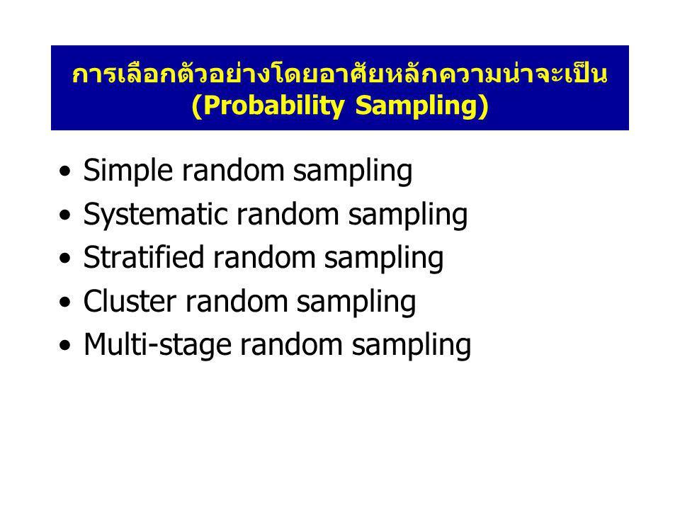 การเลือกตัวอย่างโดยอาศัยหลักความน่าจะเป็น (Probability Sampling) •Simple random sampling •Systematic random sampling •Stratified random sampling •Cluster random sampling •Multi-stage random sampling