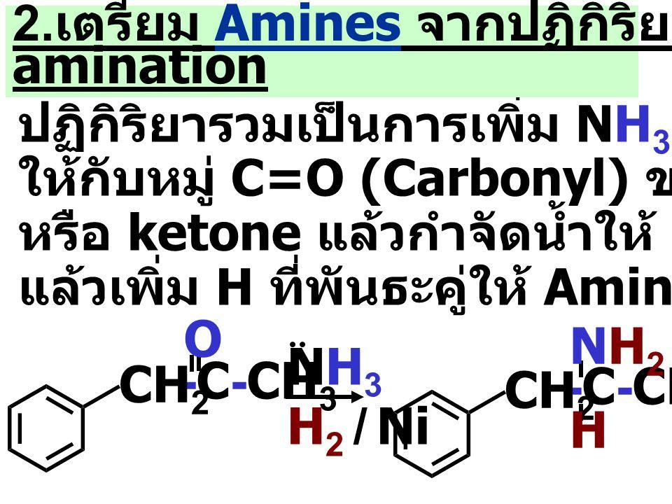 ปฏิกิริยารวมเป็นการเพิ่ม NH 3 หรือ Amine ให้กับหมู่ C=O (Carbonyl) ของ Aldehyde หรือ ketone แล้วกำจัดน้ำให้ imines (C=N) แล้วเพิ่ม H ที่พันธะคู่ให้ Amine 2.