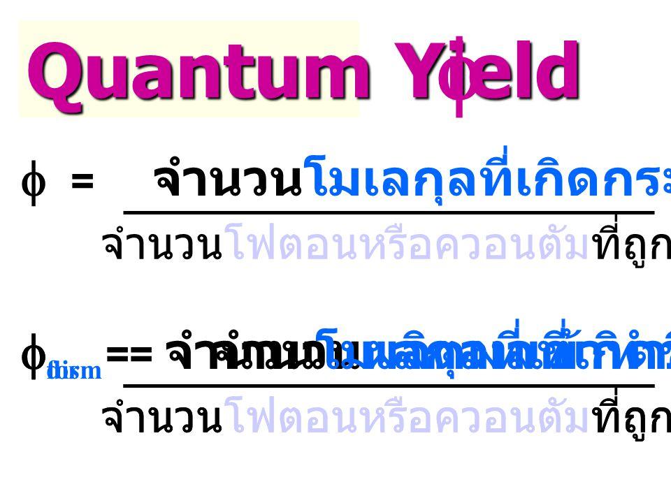 Quantum Yield   = จำนวนโมเลกุลที่เกิดกระบวนการ จำนวนโฟตอนหรือควอนตัมที่ถูกดูดกลืนเข้าไป  form  = จำนวนผลิตผลที่เกิดขึ้น จำนวนโฟตอนหรือควอนตัมที่ถูกดูดกลืนเข้าไป  dis  = จำนวนโมเลกุลที่เข้าทำปฏิกิริยา จำนวนโฟตอนหรือควอนตัมที่ถูกดูดกลืนเข้าไป