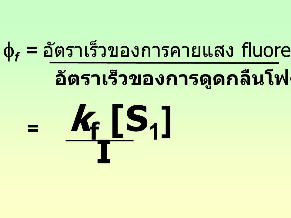 อัตราเร็วของการดูดกลืนโฟตอน ของ S 0  f = อัตราเร็วของการคายแสง fluorescence จาก S 1 = k f [S 1 ] I
