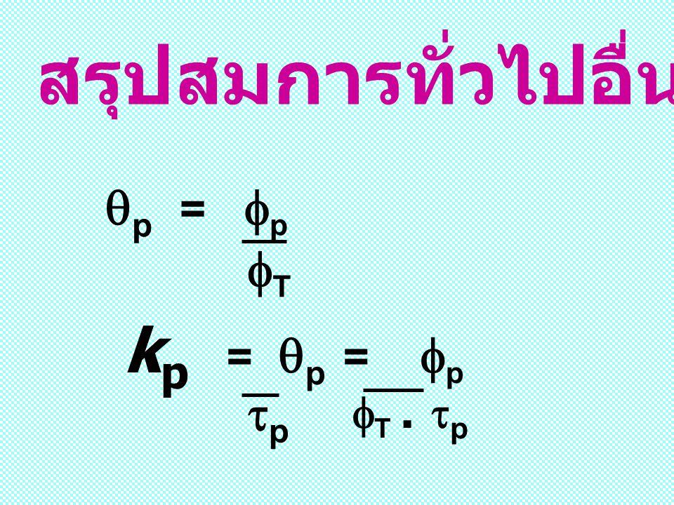 สรุปสมการทั่วไปอื่น ๆ :  p =  p TT k p =  p =  p  T.  p pp