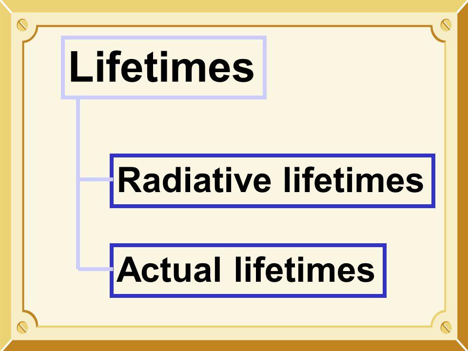 Lifetimes Radiative lifetimes Actual lifetimes