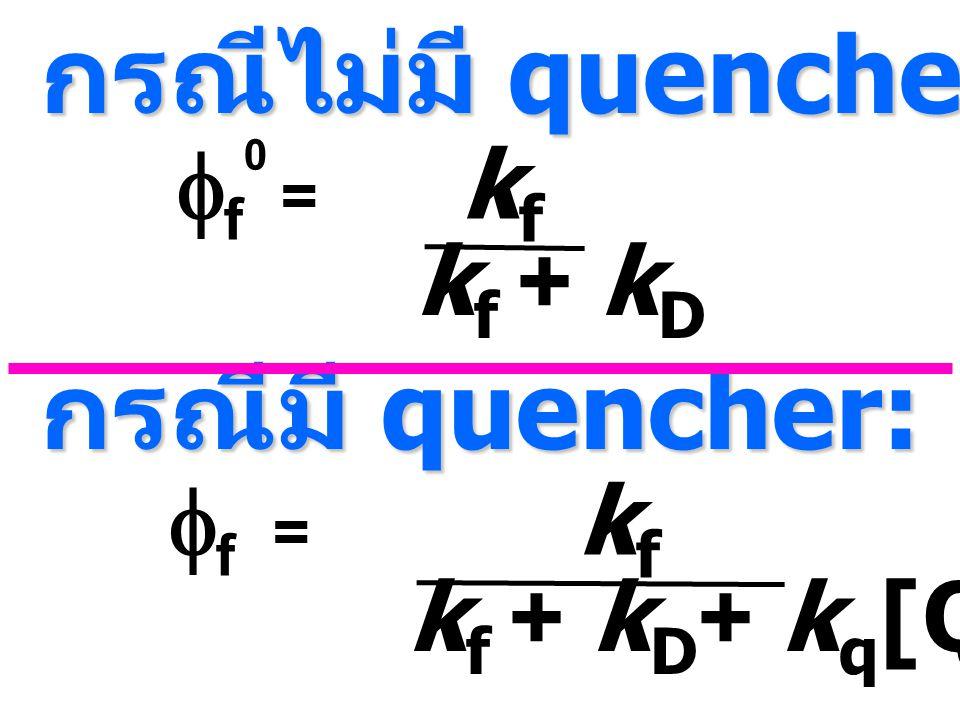 กรณีไม่มี quencher:  f 0 = k f k f + k D  f = k f k f + k D + k q [Q] กรณีมี quencher: