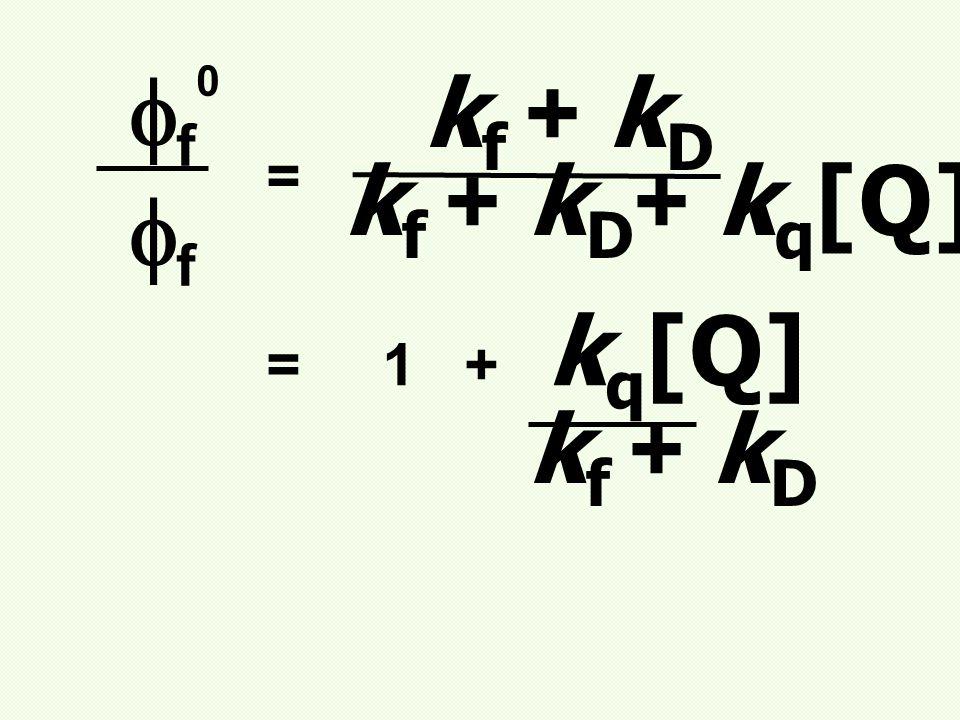 f0f0 ff = k f + k D k f + k D + k q [Q] = 1 + k q [Q] k f + k D