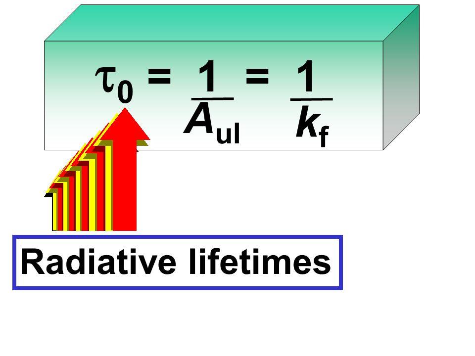    = 1 = 1 A ul kfkf Radiative lifetimes