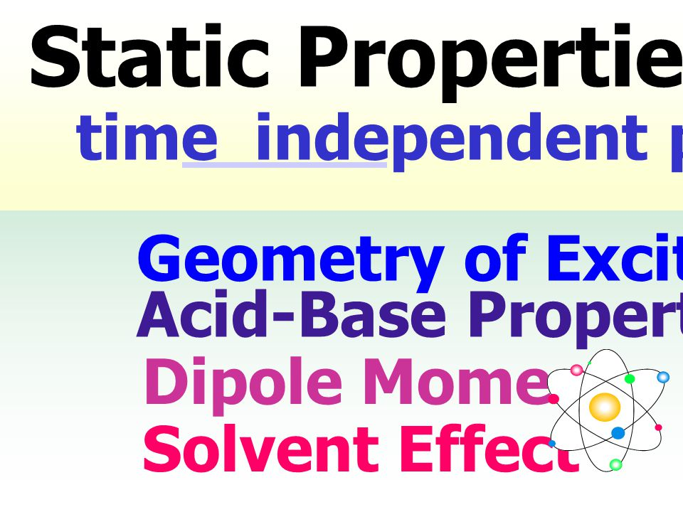 Geometry of Excited State Acid-Base Properties Dipole Moment Solvent Effect time independent phenomena Static Properties: