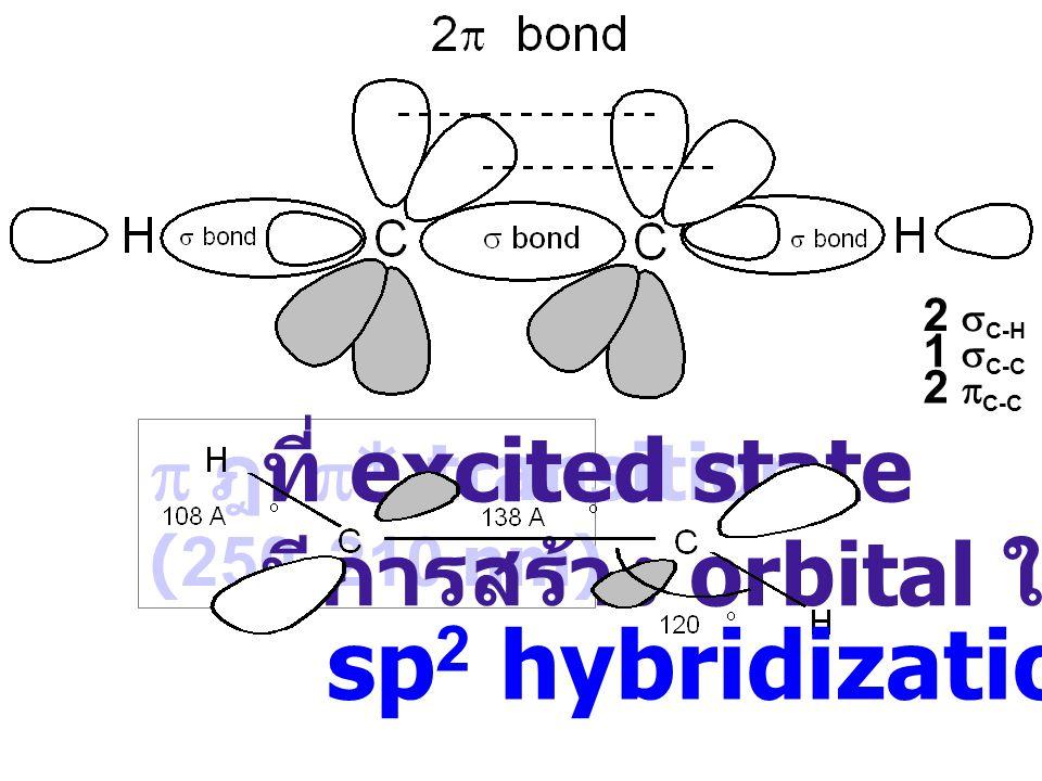  ฎ  * transition (250-210 nm) ที่ excited state มีการสร้าง orbital ใหม่ sp 2 hybridization 2  C-H 1  C-C 2  C-C