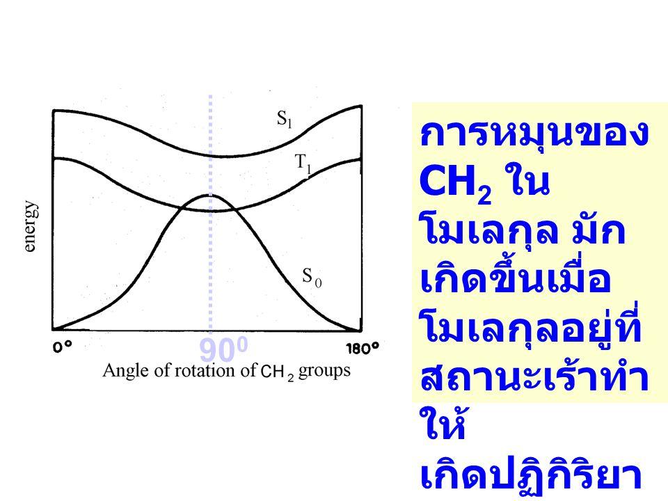 90 0 การหมุนของ CH 2 ใน โมเลกุล มัก เกิดขึ้นเมื่อ โมเลกุลอยู่ที่ สถานะเร้าทำ ให้ เกิดปฏิกิริยา cis-trans Photoisome rization