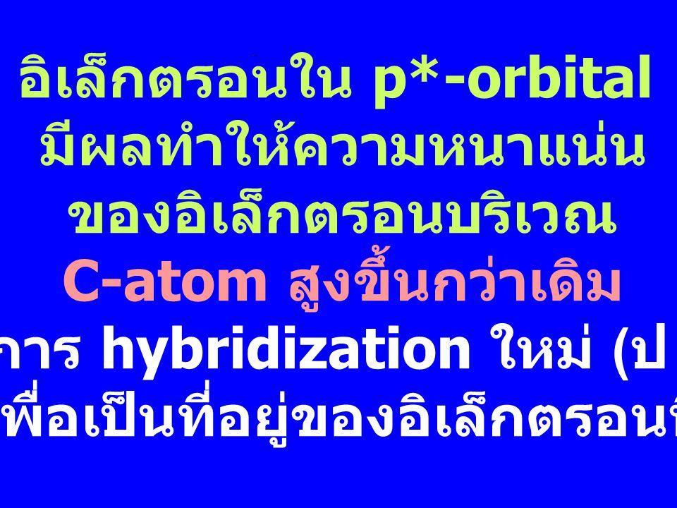 อิเล็กตรอนใน p*-orbital มีผลทำให้ความหนาแน่น ของอิเล็กตรอนบริเวณ C-atom สูงขึ้นกว่าเดิม เกิดการ hybridization ใหม่ ( ป  SP 3 ) เพื่อเป็นที่อยู่ของอิเล็กตรอนนี้
