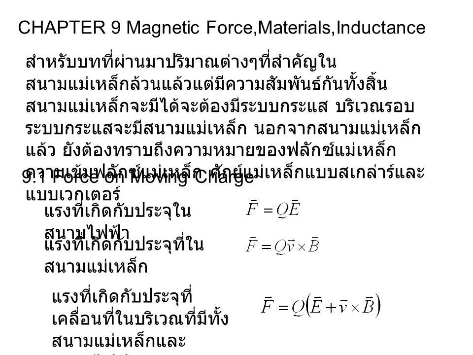 CHAPTER 9 Magnetic Force,Materials,Inductance สำหรับบทที่ผ่านมาปริมาณต่างๆที่สำคัญใน สนามแม่เหล็กล้วนแล้วแต่มีความสัมพันธ์กันทั้งสิ้น สนามแม่เหล็กจะมีได้จะต้องมีระบบกระแส บริเวณรอบ ระบบกระแสจะมีสนามแม่เหล็ก นอกจากสนามแม่เหล็ก แล้ว ยังต้องทราบถึงความหมายของฟลักซ์แม่เหล็ก ความเข้มฟลักซ์แม่เหล็ก ศักย์แม่เหล็กแบบสเกล่าร์และ แบบเวกเตอร์ 9.1 Force on Moving Charge แรงที่เกิดกับประจุใน สนามไฟฟ้า แรงที่เกิดกับประจุที่ใน สนามแม่เหล็ก แรงที่เกิดกับประจุที่ เคลื่อนที่ในบริเวณที่มีทั้ง สนามแม่เหล็กและ สนามไฟฟ้า