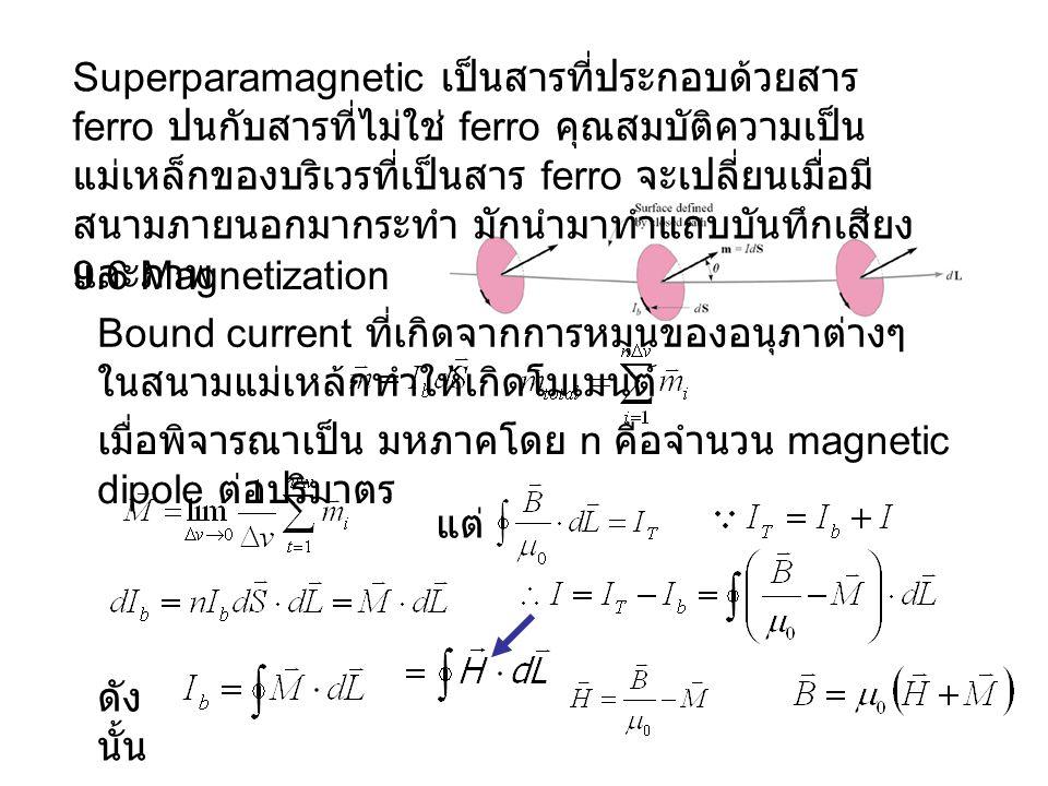 9.6 Magnetization Superparamagnetic เป็นสารที่ประกอบด้วยสาร ferro ปนกับสารที่ไม่ใช่ ferro คุณสมบัติความเป็น แม่เหล็กของบริเวรที่เป็นสาร ferro จะเปลี่ยนเมื่อมี สนามภายนอกมากระทำ มักนำมาทำแถบบันทึกเสียง และภาพ Bound current ที่เกิดจากการหมุนของอนุภาต่างๆ ในสนามแม่เหล้กทำให้เกิดโมเมนต์ เมื่อพิจารณาเป็น มหภาคโดย n คือจำนวน magnetic dipole ต่อปริมาตร แต่ ดัง นั้น