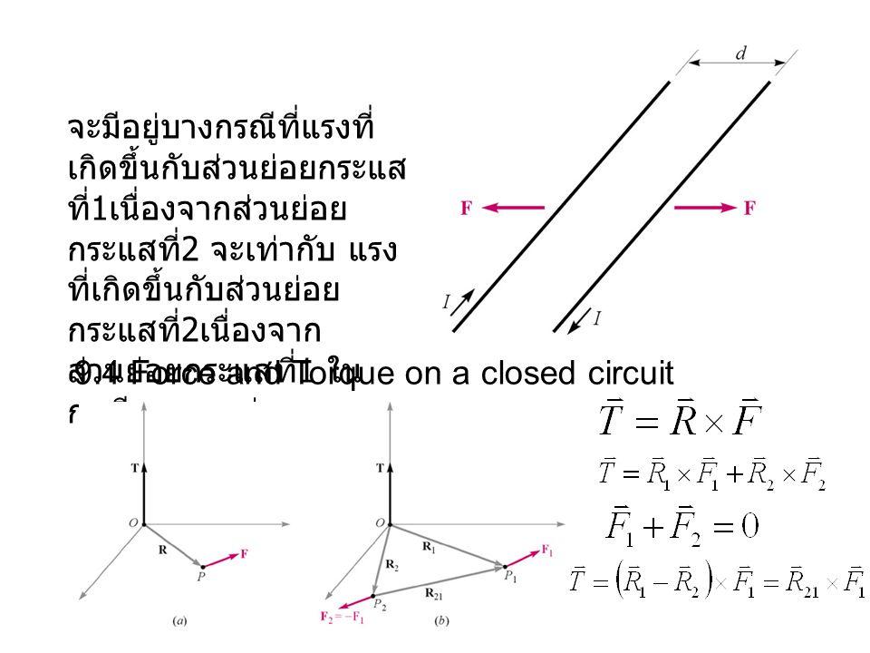 จะมีอยู่บางกรณีที่แรงที่ เกิดขึ้นกับส่วนย่อยกระแส ที่ 1 เนื่องจากส่วนย่อย กระแสที่ 2 จะเท่ากับ แรง ที่เกิดขึ้นกับส่วนย่อย กระแสที่ 2 เนื่องจาก ส่วนย่อยกระแสที่ 1 ใน กรณีของแรงคู่ควบ 9.4 Force and Torque on a closed circuit