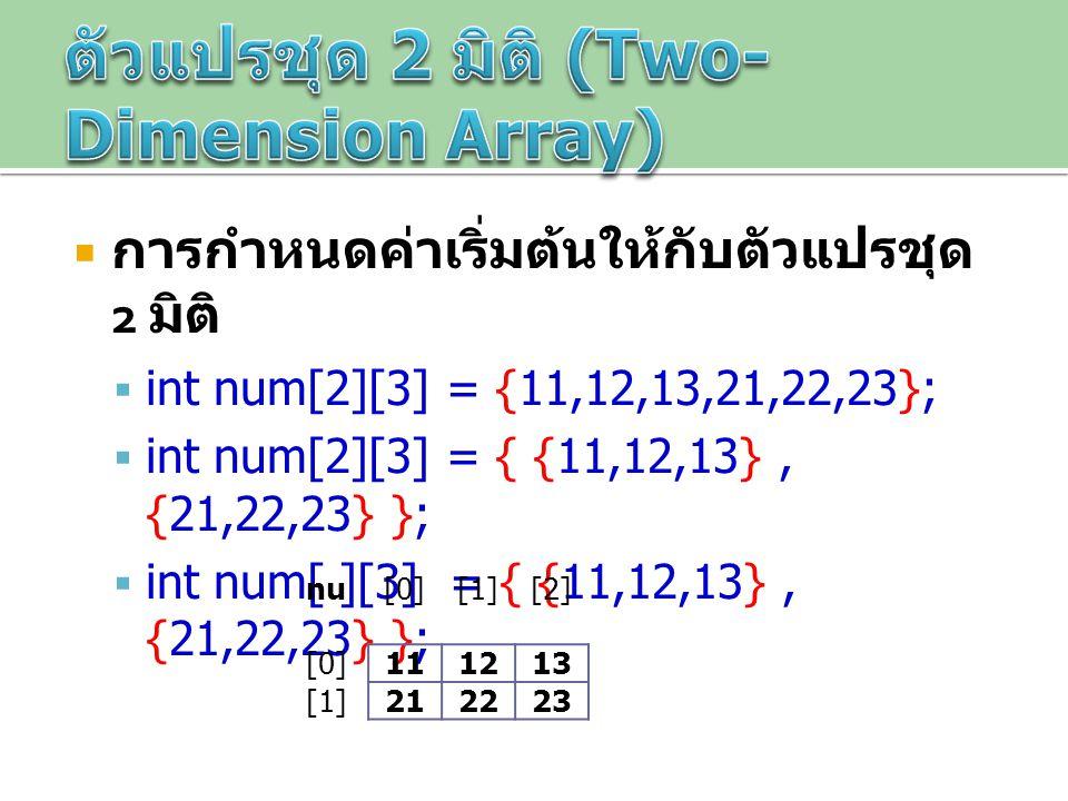  การกำหนดค่าเริ่มต้นให้กับตัวแปรชุด 2 มิติ  int num[2][3] = {11,12,13,21,22,23};  int num[2][3] = { {11,12,13}, {21,22,23} };  int num[ ][3] = { {