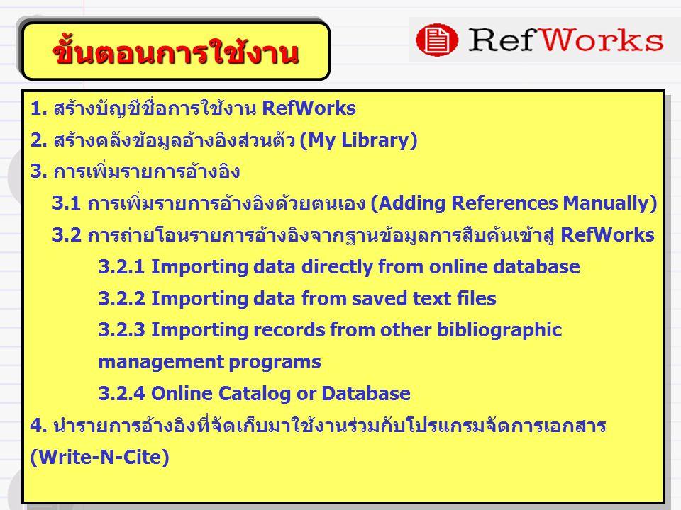 ขั้นตอนการใช้งาน 1. สร้างบัญชีชื่อการใช้งาน RefWorks 2.