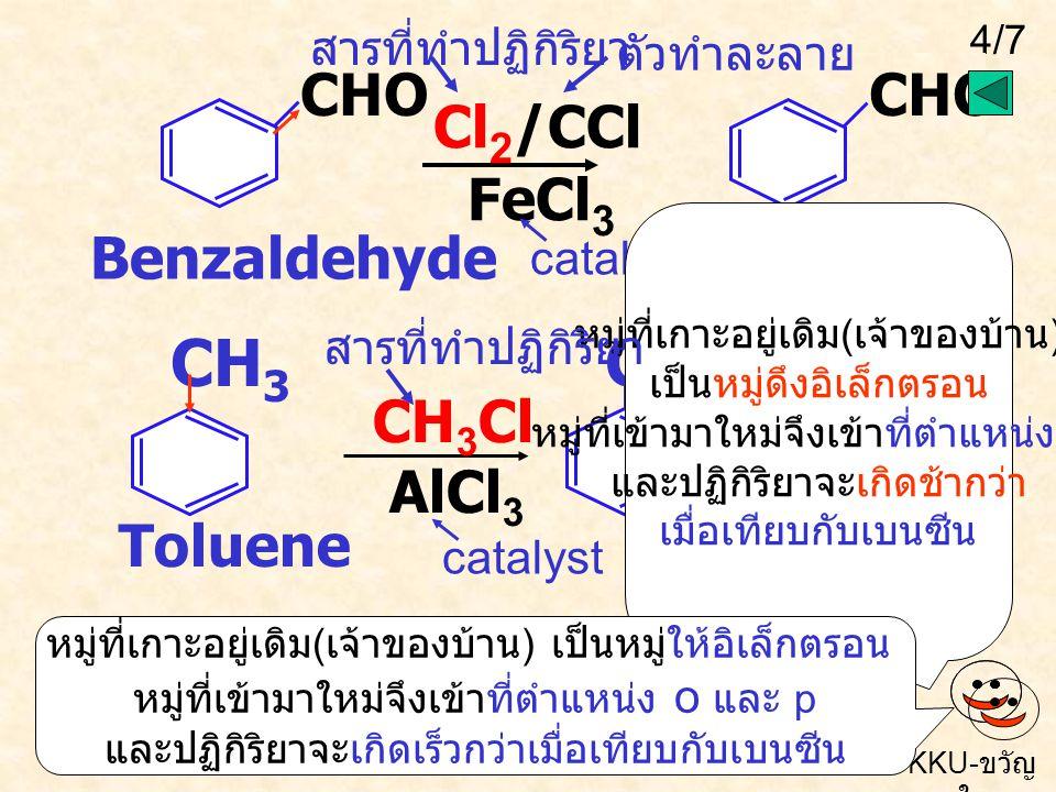 3/7 KKU- ขวัญ ใจ NO 2 Br COOH Br 2 /AlBr 3 H 2 SO 4 HNO 3 H 2 SO 4 ต้องพิจารณาหมู่ที่เกาะอยู่ก่อน ( เจ้าของบ้าน ) ว่าเป็น หมู่ให้หรือดึงอิเล็กตรอน ถ้า