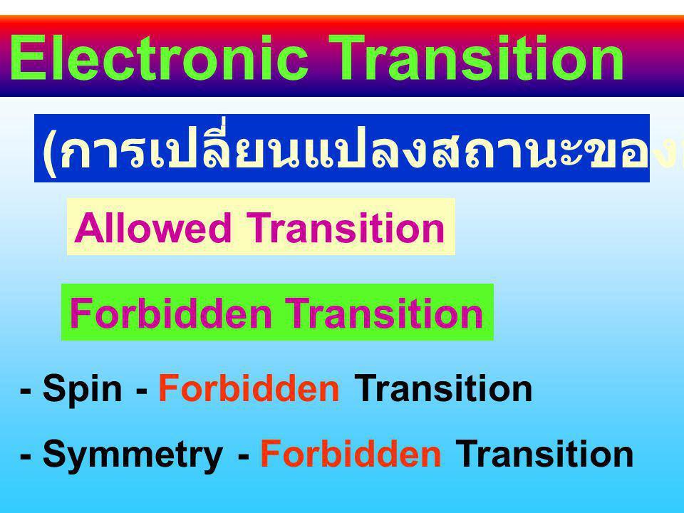 Electronic Transition ( การเปลี่ยนแปลงสถานะของอิเล็กตรอน ) Allowed Transition Forbidden Transition - Spin - Forbidden Transition - Symmetry - Forbidden Transition