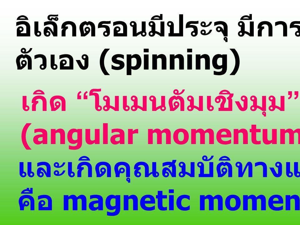 อิเล็กตรอนมีประจุ มีการหมุนรอบ ตัวเอง (spinning) เกิด โมเมนตัมเชิงมุม และเกิดคุณสมบัติทางแม่เหล็ก คือ magnetic moment (angular momentum)