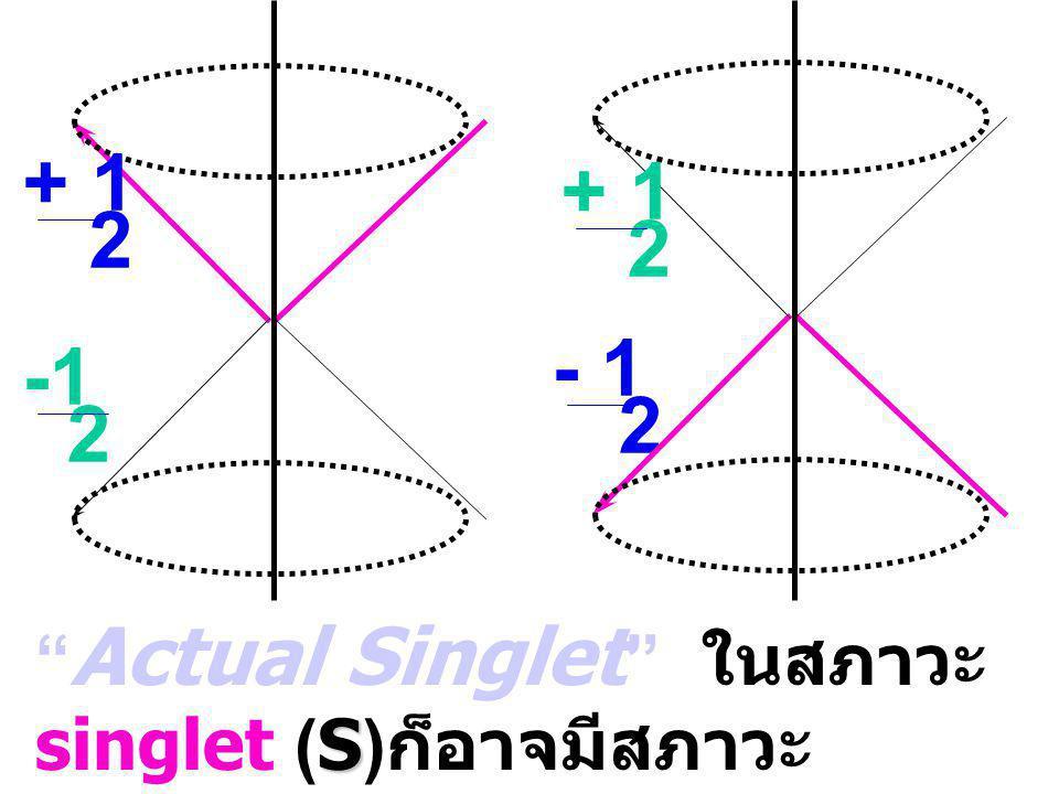 + 1 2 - 1 2 2 + 1 2 S S Actual Singlet ในสภาวะ singlet (S) ก็อาจมีสภาวะ triplet แอบแฝงอยู่ S = S + t