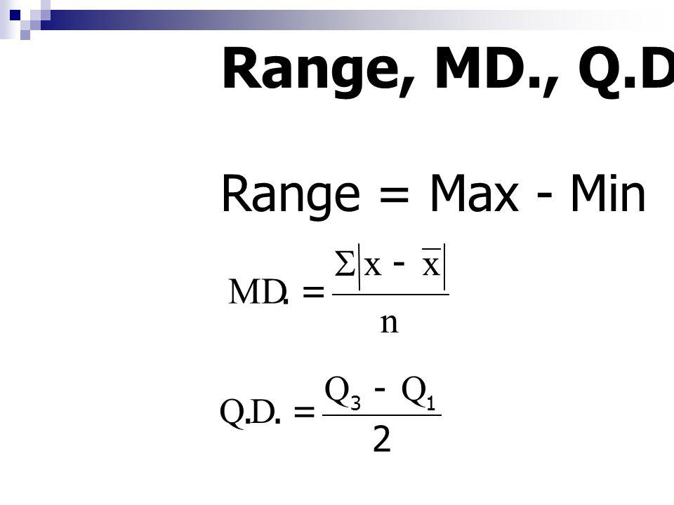 Range = Max - Min n xx.MD   2 QQ.D.Q 13   Range, MD., Q.D.