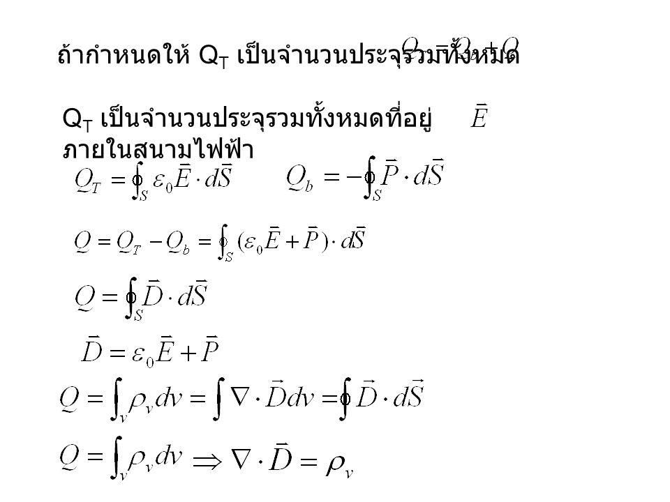 ถ้ากำหนดให้ Q T เป็นจำนวนประจุรวมทั้งหมด Q T เป็นจำนวนประจุรวมทั้งหมดที่อยู่ ภายในสนามไฟฟ้า