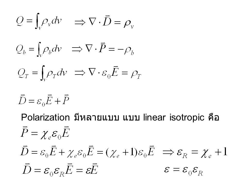 Polarization มีหลายแบบ แบบ linear isotropic คือ