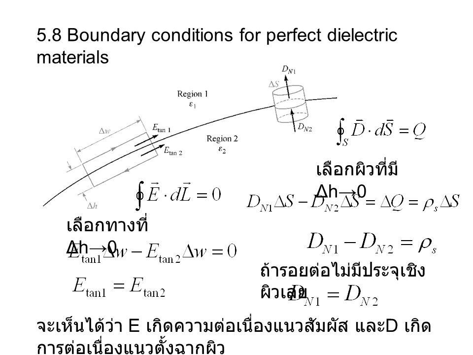 5.8 Boundary conditions for perfect dielectric materials เลือกทางที่ Δh→0 เลือกผิวที่มี Δh→0 ถ้ารอยต่อไม่มีประจุเชิง ผิวเลย จะเห็นได้ว่า E เกิดความต่อเนื่องแนวสัมผัส และ D เกิด การต่อเนื่องแนวตั้งฉากผิว