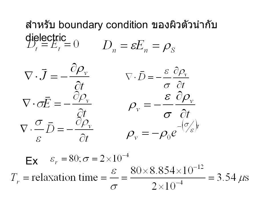สำหรับ boundary condition ของผิวตัวนำกับ dielectric Ex