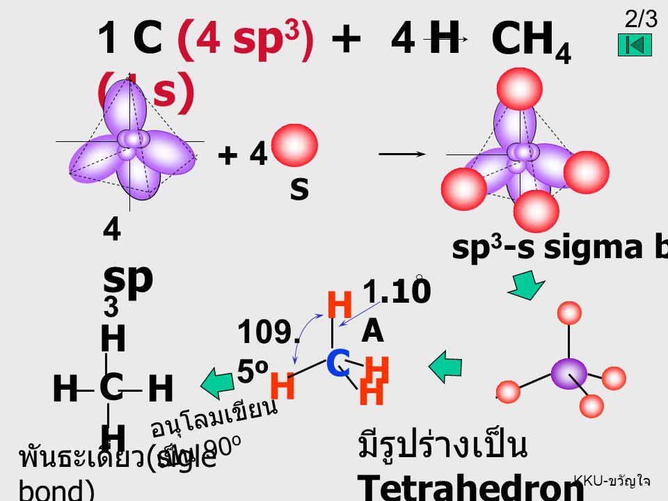 2/3 KKU- ขวัญใจ 1 C (4 sp 3 ) + 4 H (4 s) CH 4 4 sp 3 + S 4 H H H C H พันธะเดี่ยว (sigle bond) มีรูปร่างเป็น Tetrahedron 1.10 A HH H C H อนุโลมเขียน เป็น 90 o 109.
