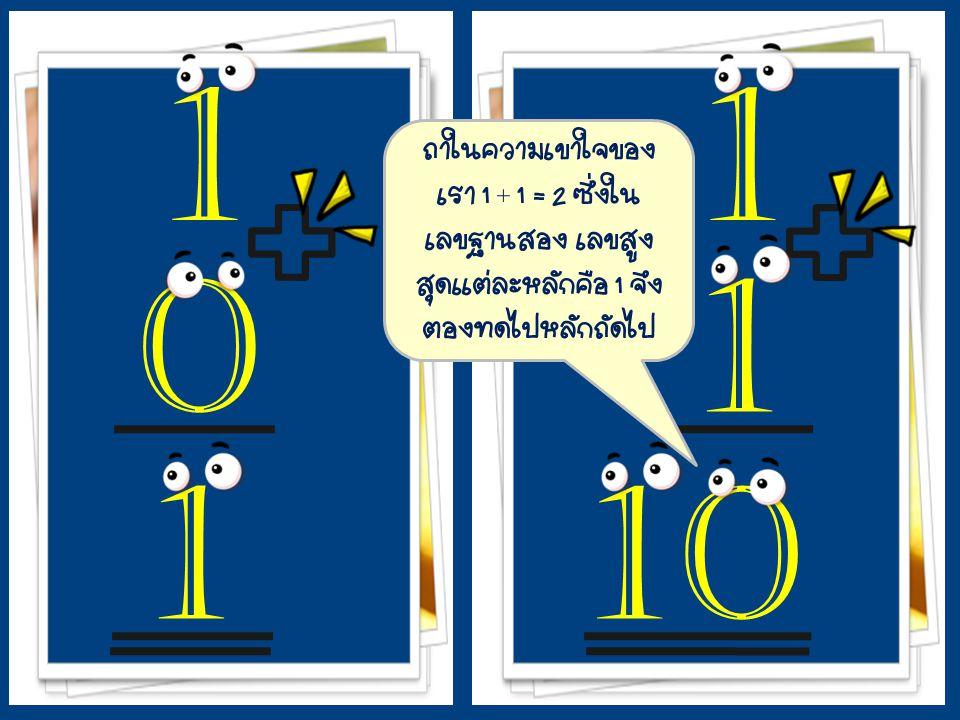 + 1 0 1 + 11 1 0 ถ้าในความเข้าใจของ เรา 1 + 1 = 2 ซึ่งใน เลขฐานสอง เลขสูง สุดแต่ละหลักคือ 1 จึง ต้องทดไปหลักถัดไป