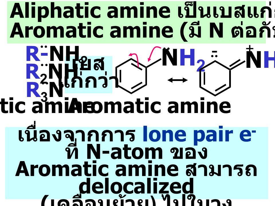 เนื่องจากการ lone pair e - ที่ N-atom ของ Aromatic amine สามารถ delocalized ( เคลื่อนย้าย ) ไปในวง benzene ทำให้ ความหนาแน่น e - ของ N- atom ลดลง เบส แก่กว่า Aliphatic amine เป็นเบสแก่กว่า NH 3 และ Aromatic amine ( มี N ต่อกับวง benzene) NH2NH2 Aromatic amine R-NH 2 Aliphatic amine R 2 NH R3NR3N NH2NH2 - +