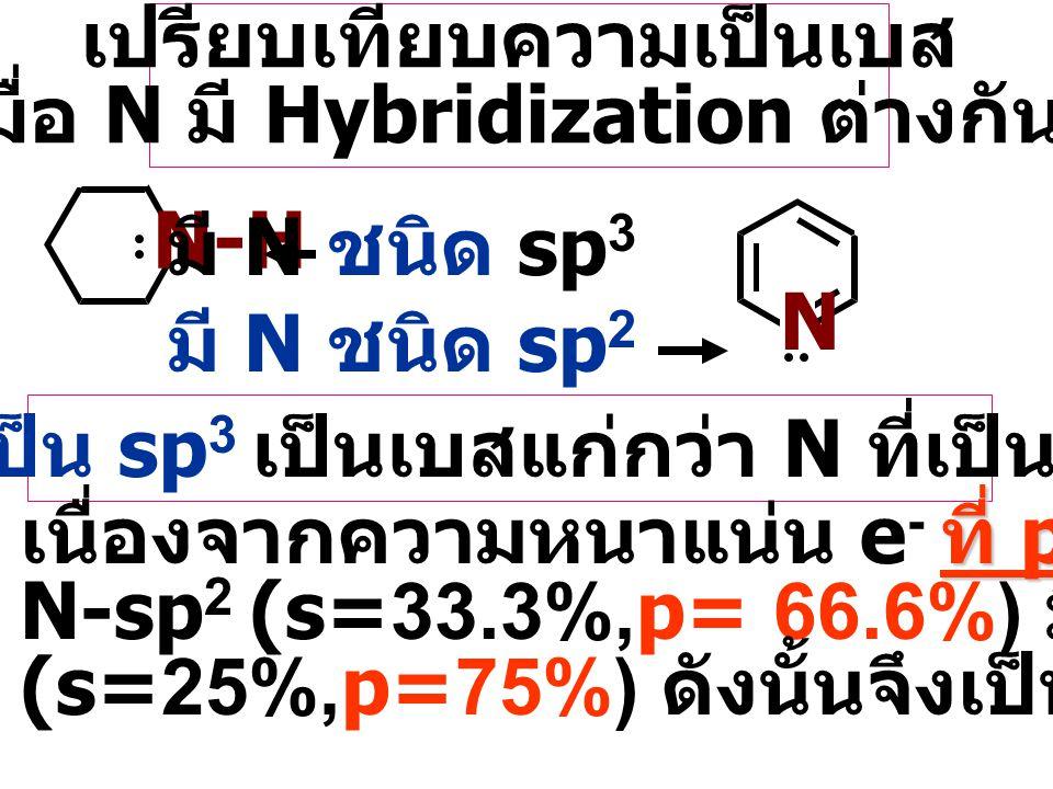 2 o amine > 1 o amine> 3 o amine NH 2 CH 3 CH 3 -N-CH 3 CH 3 แต่ 3 o amine มี steric hindered ( ขวางกั้น ) ของ lone pair e - ของ N ทำให้ความเป็นเบสลดล