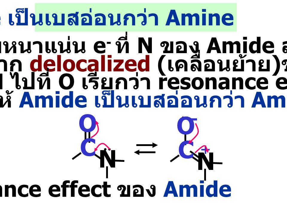 ความหนาแน่น e - ที่ N ของ Amide ลดลง เนื่องจาก delocalized ( เคลื่อนย้าย ) ของ e - จาก N ไปที่ O เรียกว่า resonance effect ทำให้ Amide เป็นเบสอ่อนกว่า Amine C O N C O N + - resonance effect ของ Amide Amide เป็นเบสอ่อนกว่า Amine