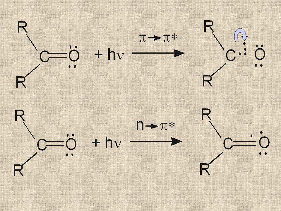 n  ฎ  * Transition มักจะพบในโมเลกุลที่มี chromophores หรือกลุ่มอะตอมที่ดูดกลืนแสง ที่มีพันธะร่วมกับ hetero-atoms เช่น C=O, C=N, C=S, N=N, N=O เป็นต้น