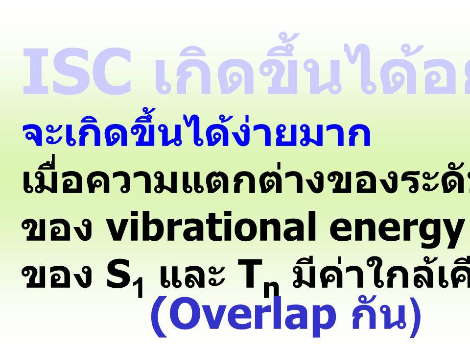 Intersystem Crossing (ISC) singlet triplet - คายความร้อน ไม่คายแสง - มีการเปลี่ยนค่า spin multiplicity: S n T n - เป็น spin forbidden transition แต่ ใ