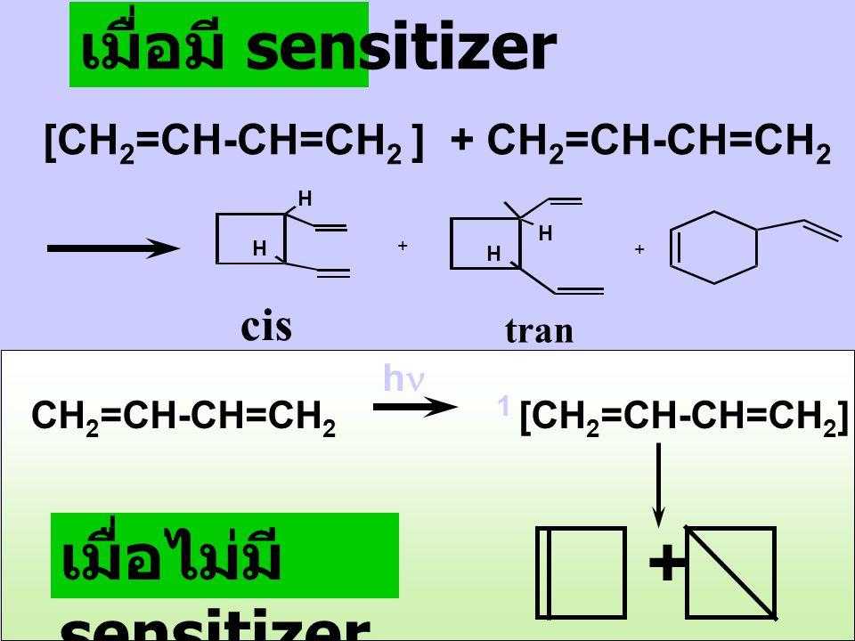เมื่อมี sensitizer: (C 6 H 5 ) 2 CO 1 [(C 6 H 5 ) 2 CO] hh 366 nm ISC 1 [(C 6 H 5 ) 2 CO] 3 [(C 6 H 5 ) 2 CO] 3 [(C 6 H 5 ) 2 CO] + CH 2 =CH-CH=CH 2