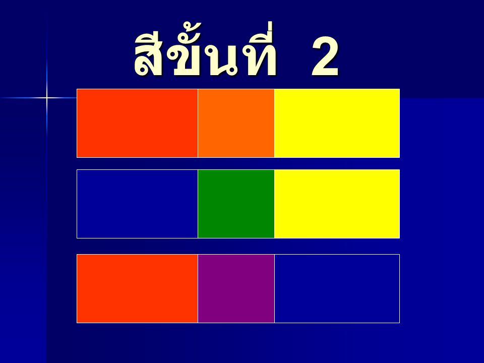 การเกิดคู่สีตรงข้าม ขั้นที่ 1 แม่สี ขั้นที่ 2 เกิดจากสีที่ ผสมจากขั้นที่ 1