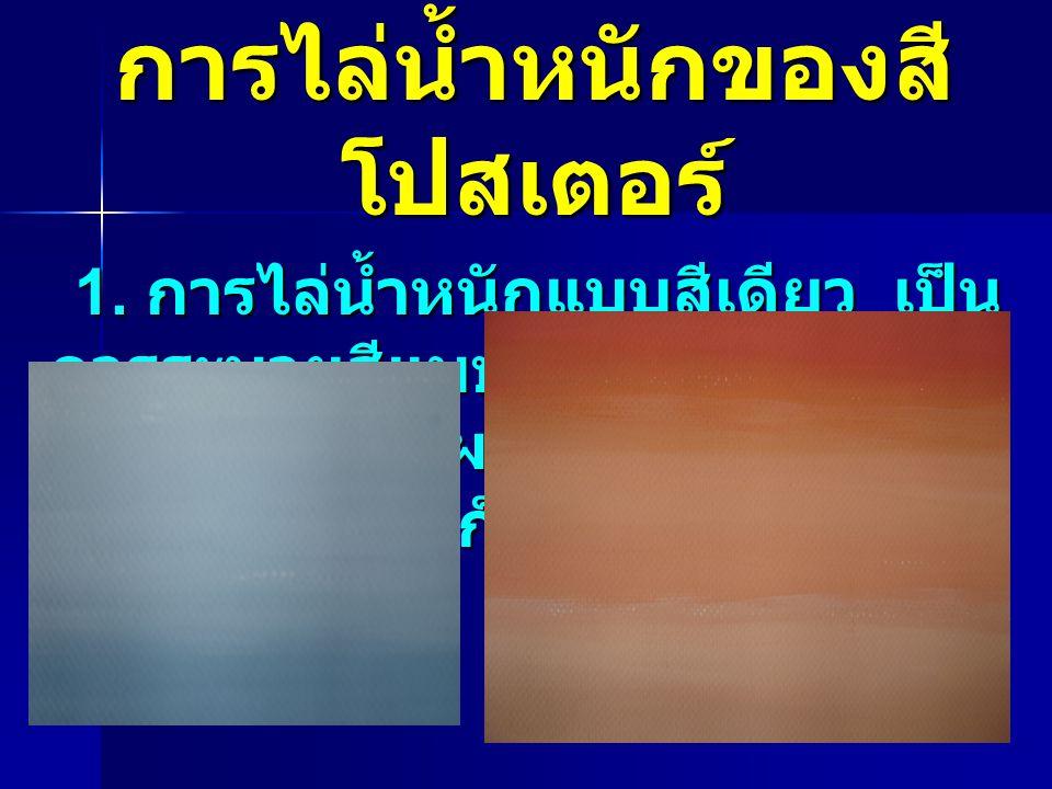 การไล่น้ำหนักของสี โปสเตอร์ 1. การไล่น้ำหนักแบบสีเดียว เป็น การระบายสีแบบไล่น้ำหนักหรือไล่ โทนสีโดยการผสมสีขาว เช่น ผสมสีขาวมากก็จะเป็นสีอ่อนมาก 1. กา