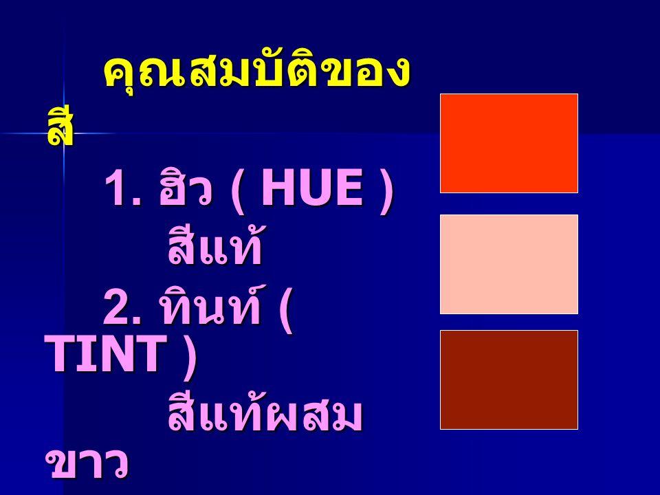 คุณสมบัติของ สี คุณสมบัติของ สี 1. ฮิว ( HUE ) 1. ฮิว ( HUE ) สีแท้ สีแท้ 2. ทินท์ ( TINT ) 2. ทินท์ ( TINT ) สีแท้ผสม ขาว สีแท้ผสม ขาว 3. โครมา ( CHR