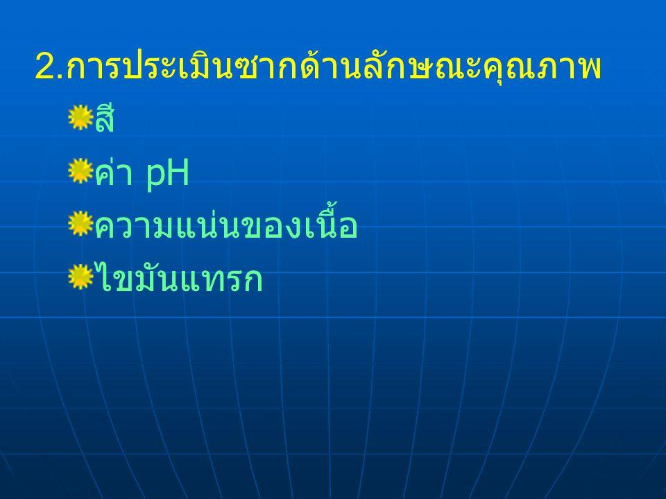 2. การประเมินซากด้านลักษณะคุณภาพ สี ค่า pH ความแน่นของเนื้อ ไขมันแทรก