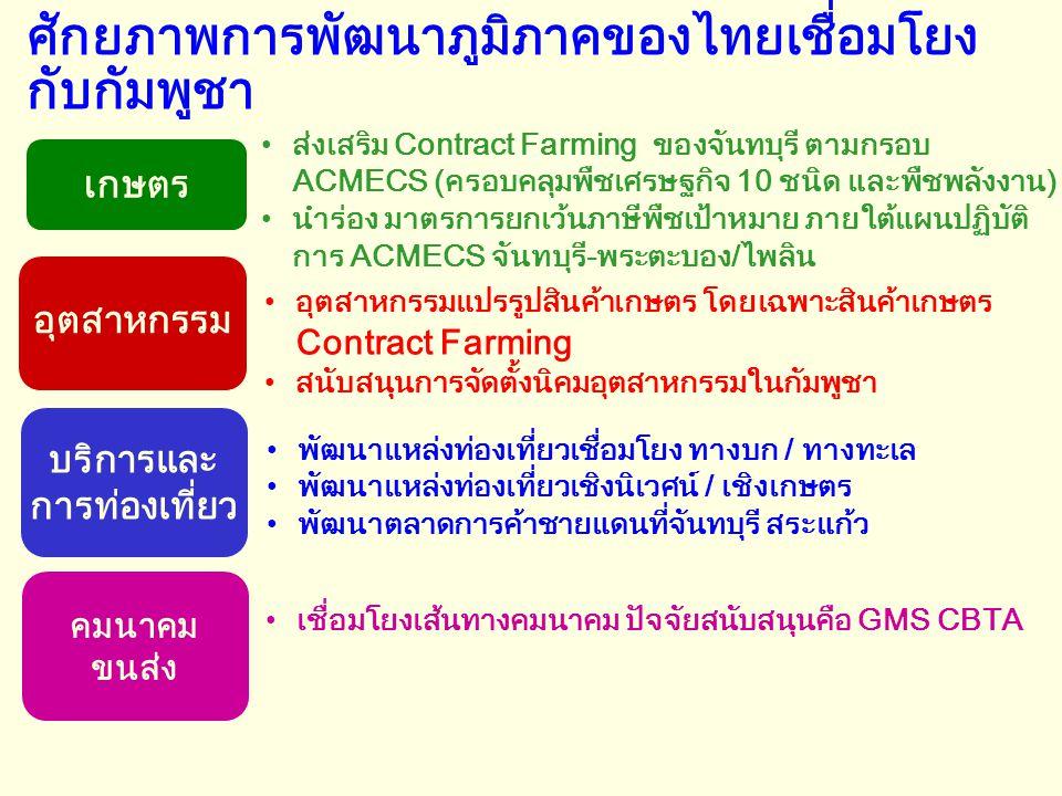 ศักยภาพการพัฒนาภูมิภาคของไทยเชื่อมโยง กับกัมพูชา •ส่งเสริม Contract Farming ของจันทบุรี ตามกรอบ ACMECS (ครอบคลุมพืชเศรษฐกิจ 10 ชนิด และพืชพลังงาน) •นำ